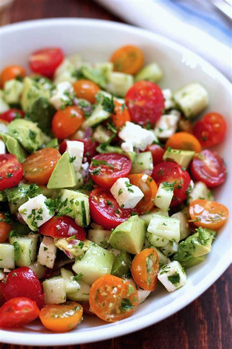 Healthy Main Dish Salad Recipes - tomato cucumber avocado salad green valley kitchen