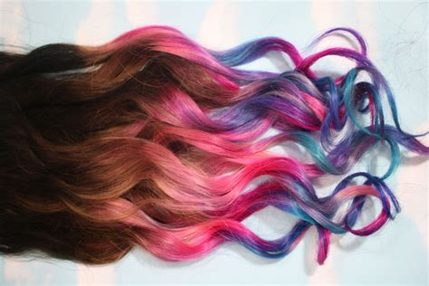 color hair extension ombre dip dyed hair clip in hair extensions tie dye tips