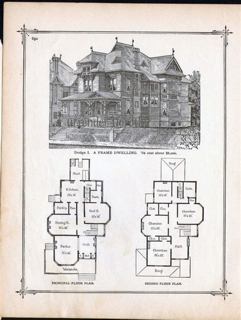 victorian blueprints gothic frame dwelling vintage house plans 1881 antique