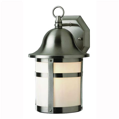 Bel Air Outdoor Lighting Bel Air Lighting Bell Cap 1 Light Outdoor Brushed Nickel Coach Lantern With Frosted Glass 4580