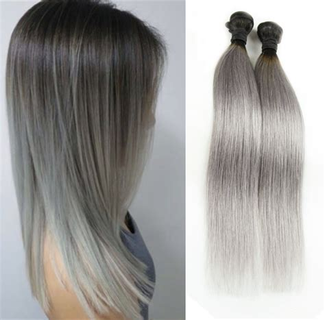 ombre human braiding hair 3pcs lot 300g ombre silver gray human hair weave ombre