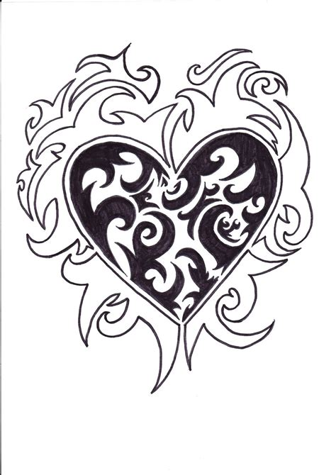 tribal pattern heart tribal heart drawing designs www imgkid com the image