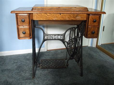 antigue singer sewing machine in tiger wood cabinet ebay