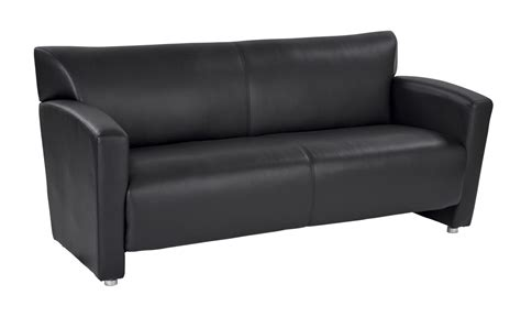black faux leather sofa with silver finish legs ergoback