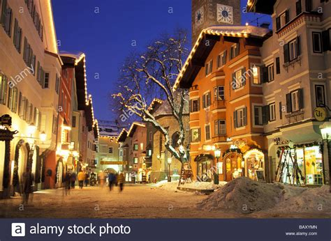 Kitzbuehel on an evening in winter, Tyrol, Austria Stock