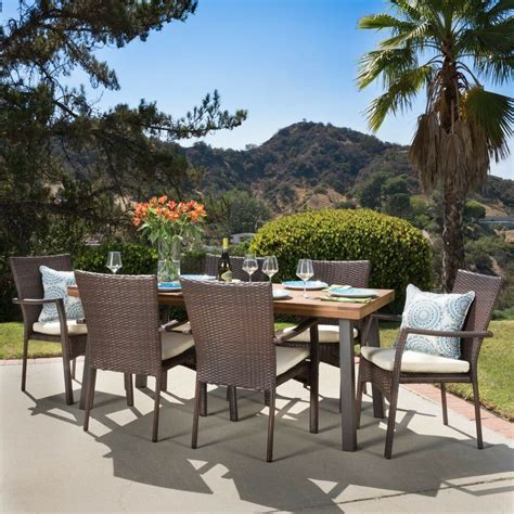 castlelake  piece outdoor dining set wood table  wicker chairs ebay