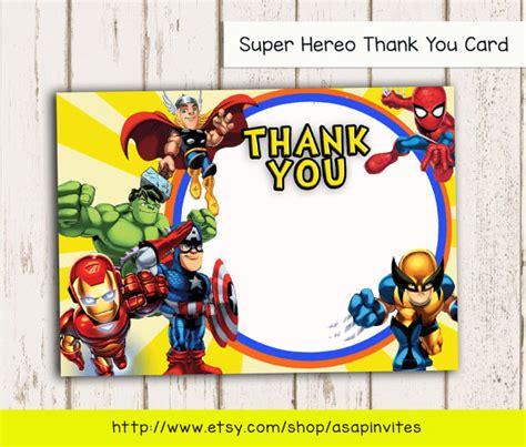 avengers printable thank you cards items similar to superheroes superhero birthday party
