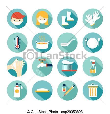 clip art de vectores de conjunto salud icono vector plano conjunto salud saneamiento iconos limpieza