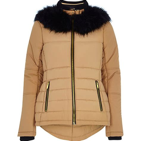 Faux Fur Collar Padded Jacket camel faux fur collar padded jacket