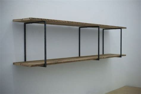 reclaimed wood floating shelves with industrial iron