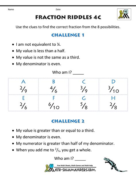 Fraction Math Worksheets by Free Printable Fraction Worksheets Fraction Riddles Harder
