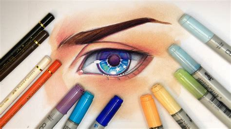 copic colored pencils drawing an eye copic markers and pencils