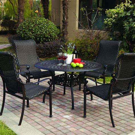 Darlee Victoria 4 Person Resin Wicker Patio Dining Set Resin Patio Dining Sets