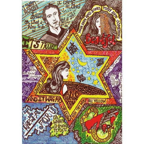 doodle poster yellow coldplay doodle print