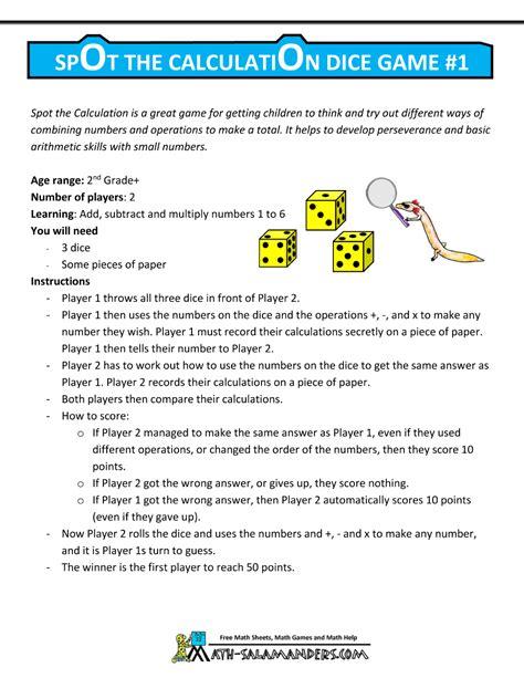 printable math games using dice math games using dice