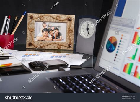 stuff for office desk office desk of stuff laptop clock document family