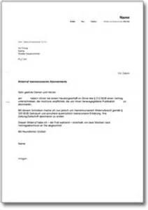 Musterbrief Zusage Angebot Widerruf Eines Abonnements Bei Einem Haust 252 Rgesch 228 Ft De Musterbrief