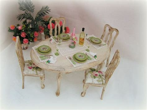 shabby chic dining set dollhouse miniature shabby chic dining table and chairs set