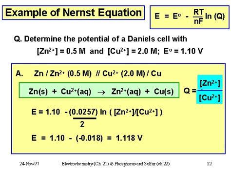 exle of nernst equation