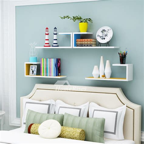 wooden wall shelves rectangular white hanging storage bedroom