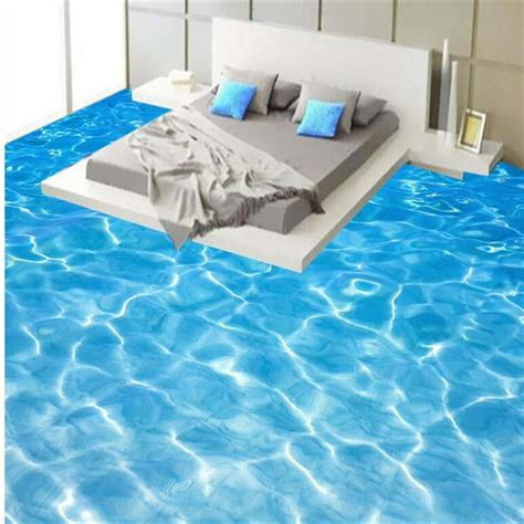beibehang green water ripple tiles painting waterproof self adhesive 3d flooring paint wallpaper