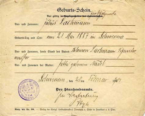 Birth Certificate Records German Family Saga