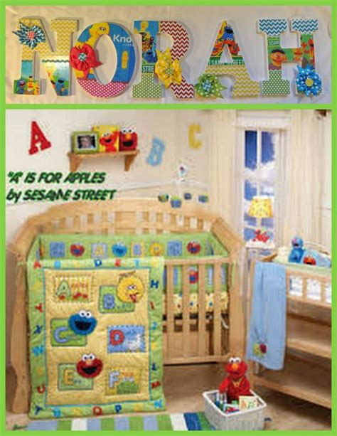 sesame room decor sesame inspired 9 quot wooden letters with drilled holes in the back for easy hanging can