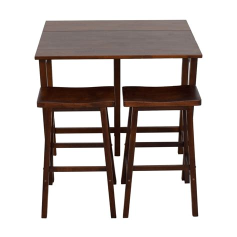 Drop Leaf Kitchen Table With Stools by 59 One Sided Wood Drop Leaf Kitchen Set With Stools