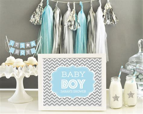 blue and gray baby shower decor blue and grey chevron