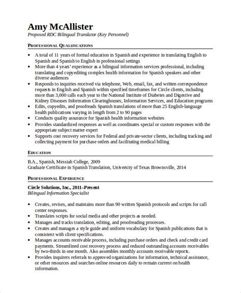 Bilingual Translator Resume Sle Bilingual Resume Template 5 Free Word Pdf Document Downloads Free Premium Templates