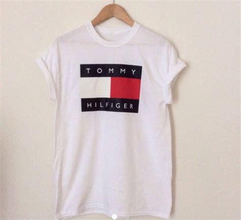 Hilfiger Logo T Shirt t shirt hilfiger logo white summer navy