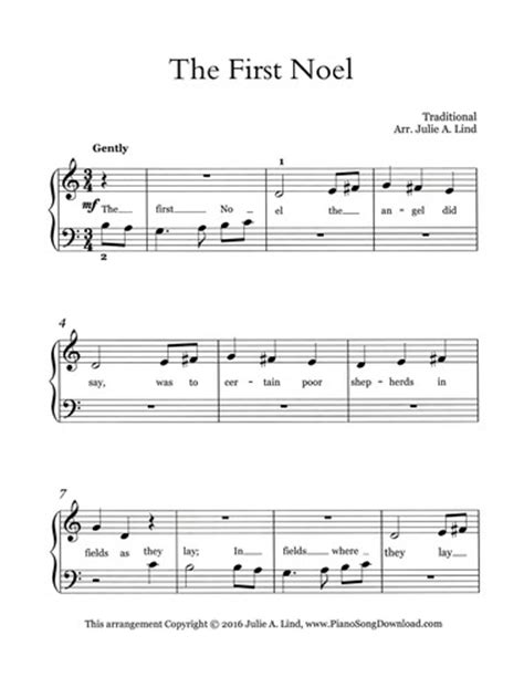 printable lyrics the first noel the first noel free easy christmas piano sheet music