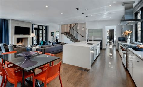 open floor plan kitchen dining room and living room cool open floor plan kitchen with white cabinets and red