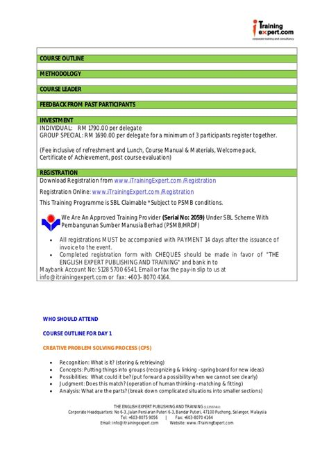 Problem Solving Skills Outline by Critical Thinking Course Outline