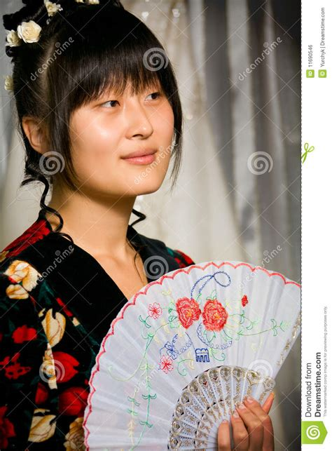 cute asian girl  fan stock photo image  culture