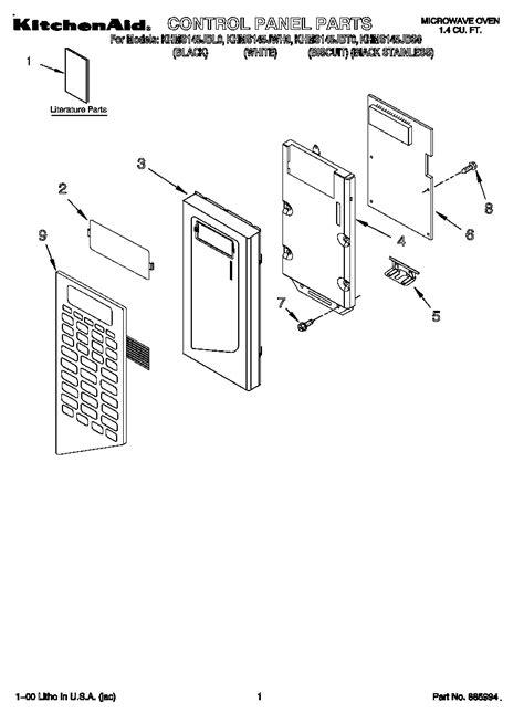 kitchenaid microwave parts diagram kitchenaid microwave parts model khms145jbl0 sears