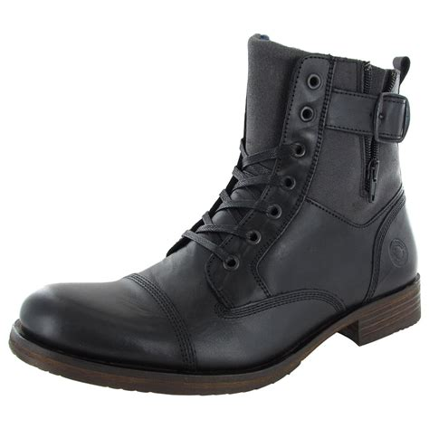 steve madden mens saxonn cap toe combat boot shoes black leather us 8 ebay