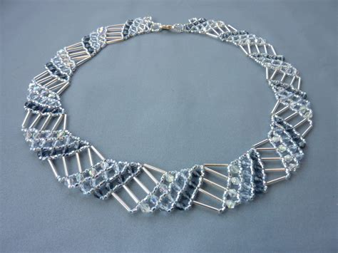 bead netting necklace free beading pattern for necklace diagonal net