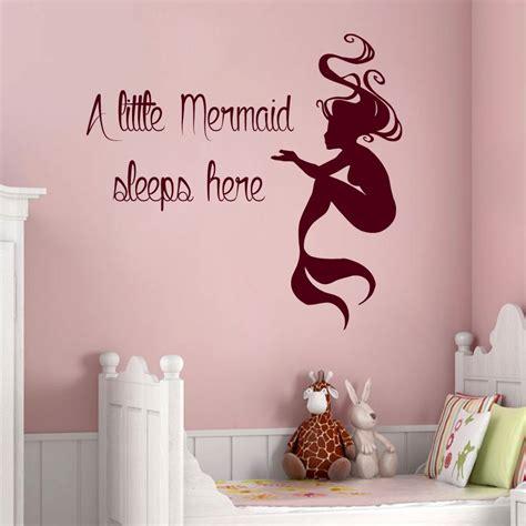 Little Mermaid Wall Stickers mermaid wall decals quote a little mermaid sleeps here vinyl