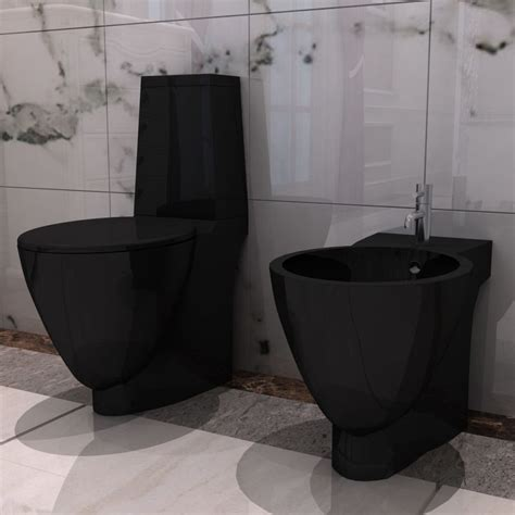 bidet set vidaxl co uk black ceramic toilet bidet set