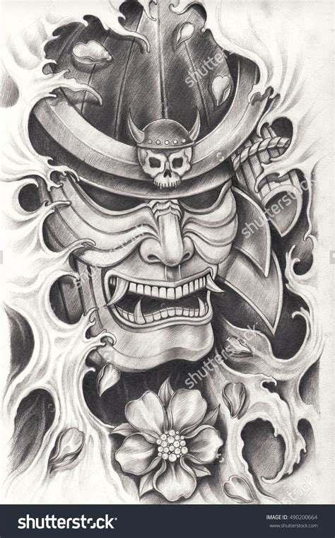japanese tattoo mask designs samurai warrior design pencil drawing on paper
