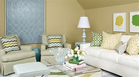 Green And White Living Room by Trendy Living Room Colors