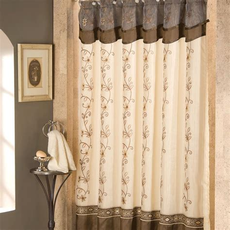 Decoration Ideas: Beautiful Cream And Grey Shower Curtain Valance And Black Metal