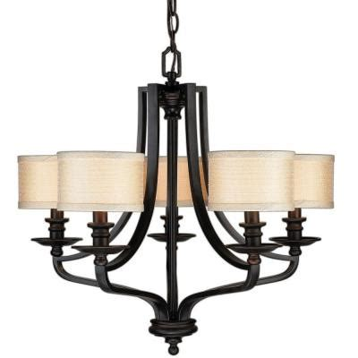 Home Depot Dining Room Light Fixtures Hton Bay 5 Light Rubbed Bronze Hanging Chandelier Es0571obr The Home Depot