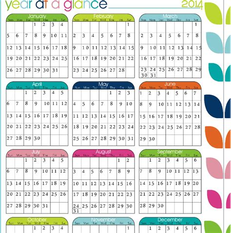 2018 Year At A Glance Calendar Printable Printable 2017 Year At A Glance Calendar Calendar