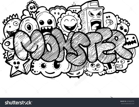 monster cartoon handdrawn doodle stock illustration