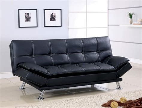 Futon Leather Sofa Bed Futon Sofa Bed Black Leather White Stitching Sofa Bed