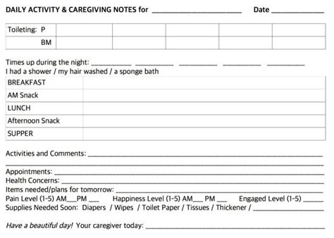 free printable nursing journal articles daily notes for caregivers with free printable forms for