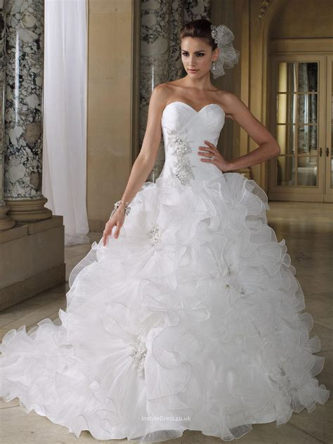 pleated organza ruffled sweetheart ball gown
