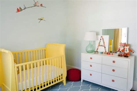Cheap Baby Nursery Decor Nursery Room With White Dresser With Accessories And Yellow Crib Cheap Decorating Ideas For